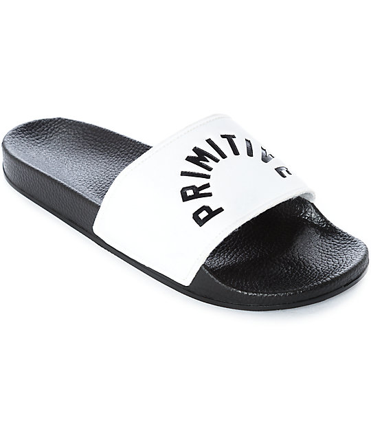 primitive arch black white slide sandals zumiez