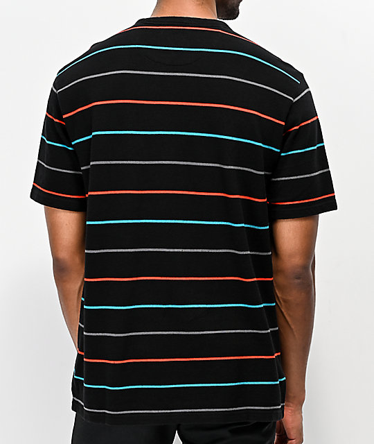 Primitive Black Washed Striped Pique T-Shirt