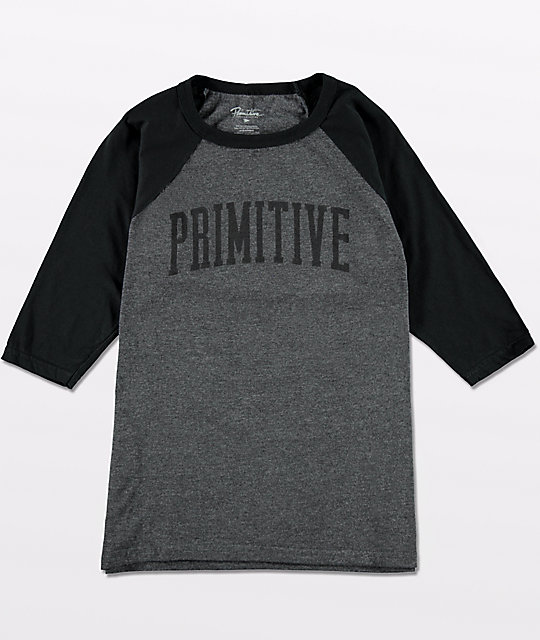 Primitive Boys Collegiate Arch Charcoal & Black Baseball T-Shirt