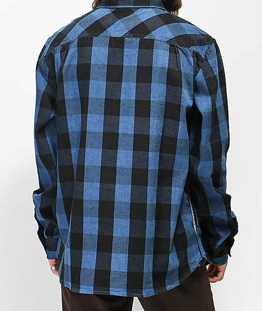 Primitive Buffalo Ikat Indigo Flannel Shirt