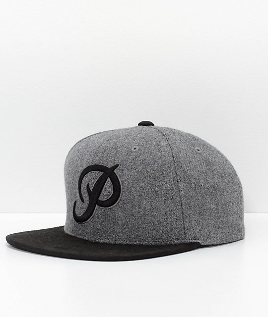 Primitive Classic P Black & Grey Wool Snapback Hat