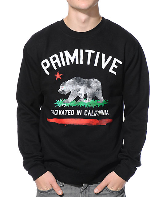 Primitive Cultivated Paint Black Crew Neck Sweatshirt