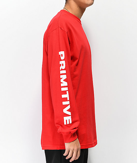 Primitive Dirty P Warp Red Long Sleeve T-Shirt