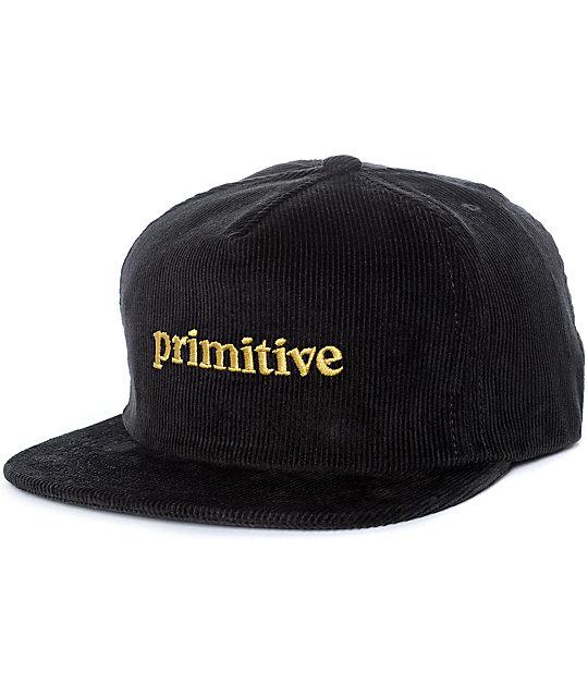 Primitive Good For Life Black Corduroy Snapback Hat  47d8a96c018