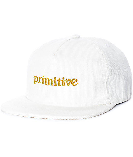 Primitive Good For Life White Corduroy Snapback Hat