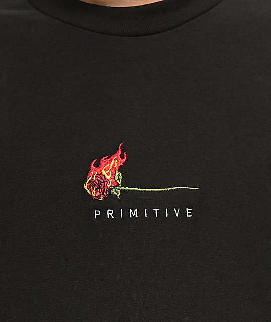 Primitive Heartbreaker Burning Rose camiseta negra