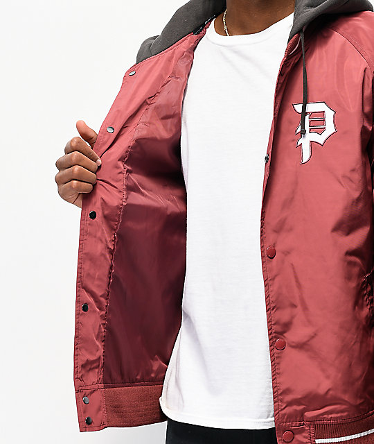 Primitive Maroon Two-Fer Varsity Jacket