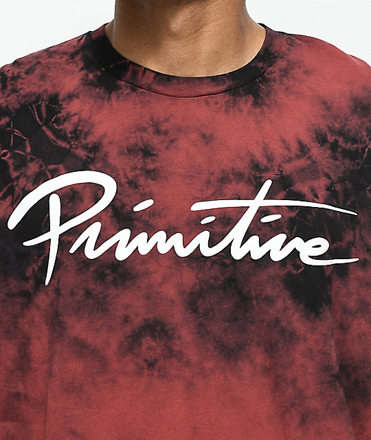 Primitive Nuevo Brick Red & Black Tie Dye T-Shirt