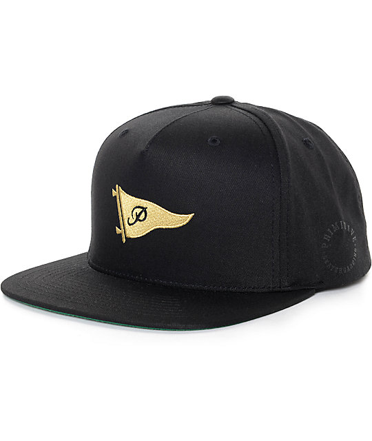 Primitive Pennant Black   Gold Snapback Hat  2c7b73f0e51