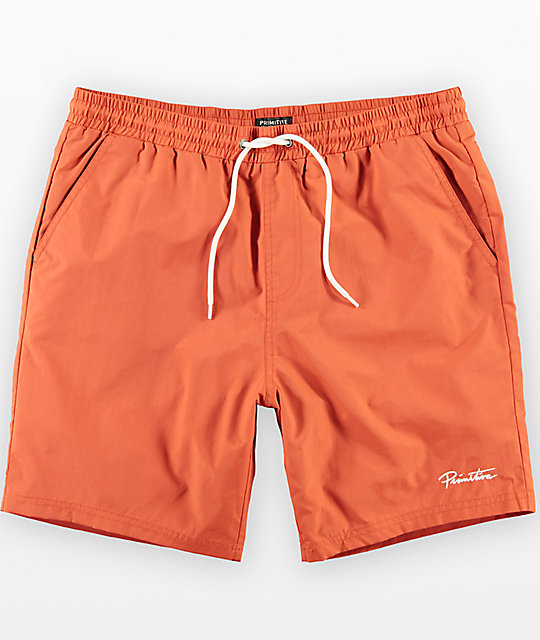 Primitive River Orange Elastic Waist Board Shorts