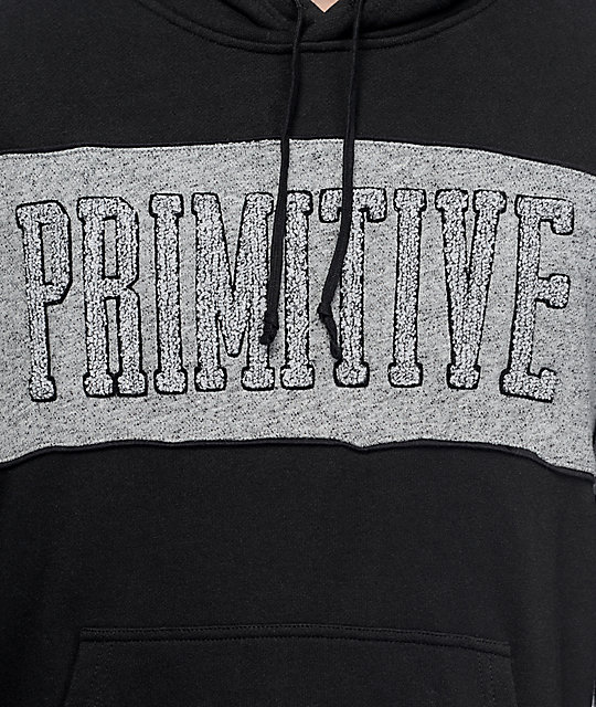 Primitive Sprinter Piped Black and Grey Pullover Hoodie