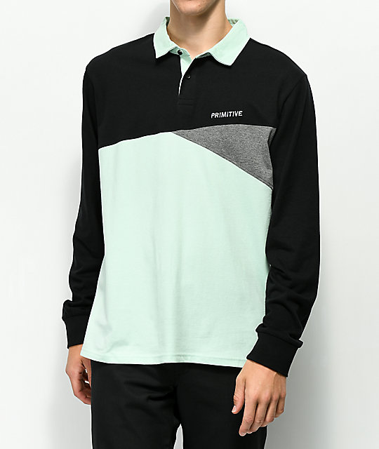 Primitive Union Mint & Black Rugby Long Sleeve Shirt