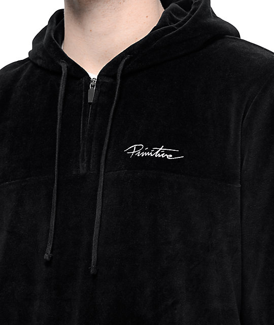 Primitive Velour Quarter Zip Black Pullover Hoodie