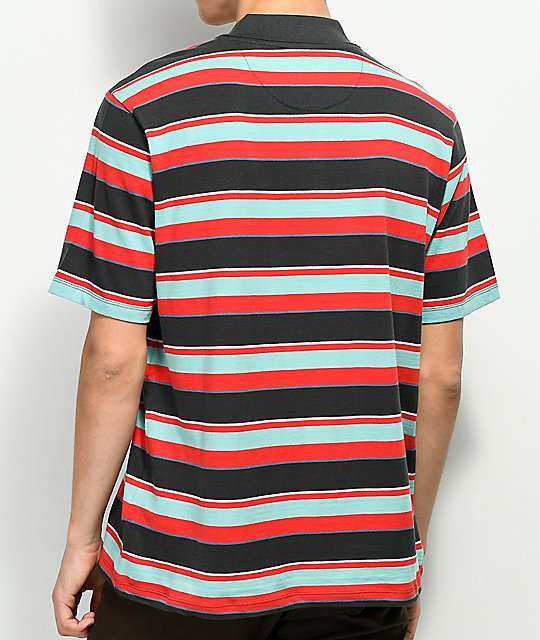Primitive Weedy Topical Striped Polo Shirt