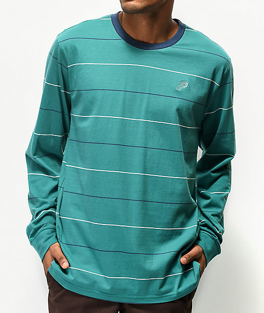Primitive Wrigley Green, Navy & White Stripe Long Sleeve T-Shirt