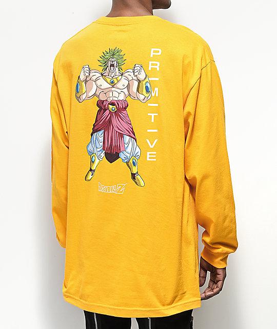 a93240c8 Primitive x Dragon Ball Z Broly Gold Long Sleeve T-Shirt | Zumiez