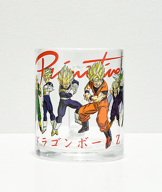 Primitive x Dragon Ball Z Heroes taza de vidrio