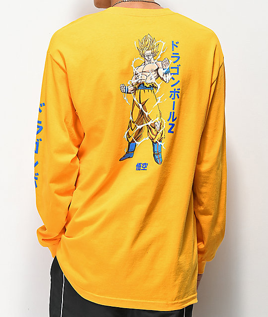 Primitive x Dragon Ball Z Nuevo Goku camiseta dorada de manga larga