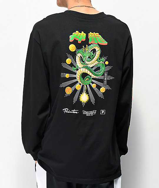 Primitive x Dragon Ball Z Shenron camiseta negra de manga larga