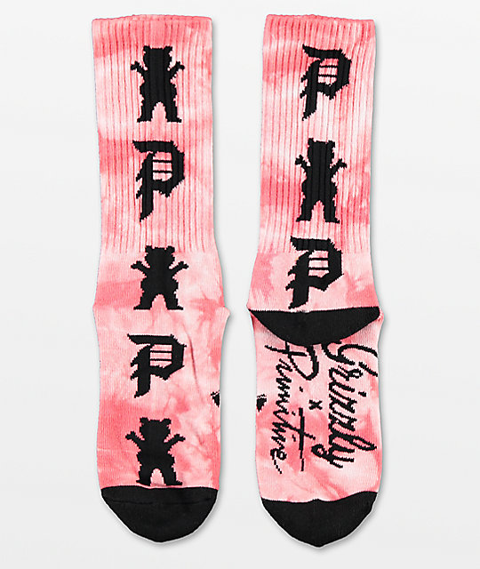 Primitive x Grizzly Logo Scatter calcetines con lavado coral