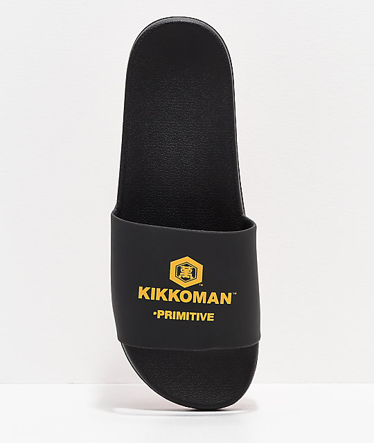 Primitive x Kikkoman Black & Red Slide Sandals