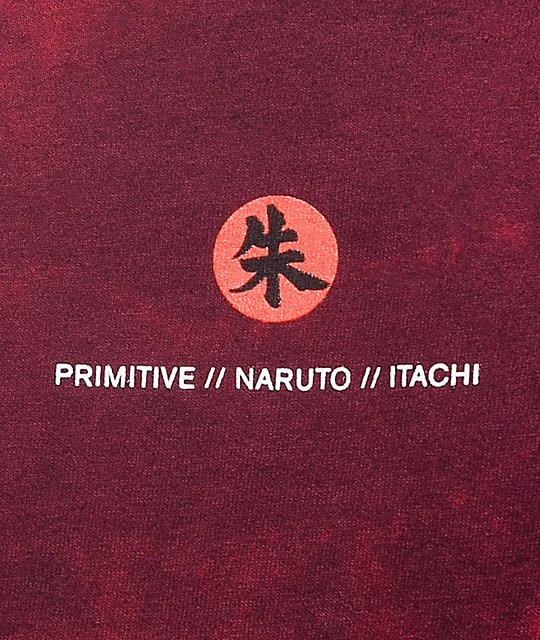 Primitive x Naruto Crows Washed Burgundy T-Shirt