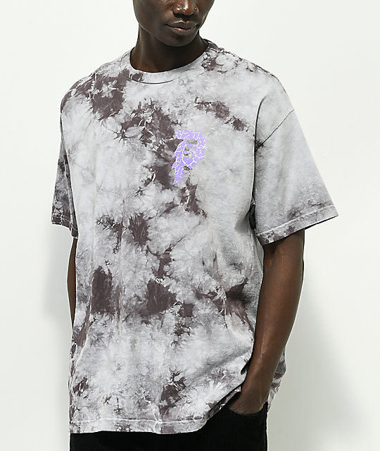 Primitive x Naruto Sasuke P Washed Grey & Black Tie Dye T-Shirt