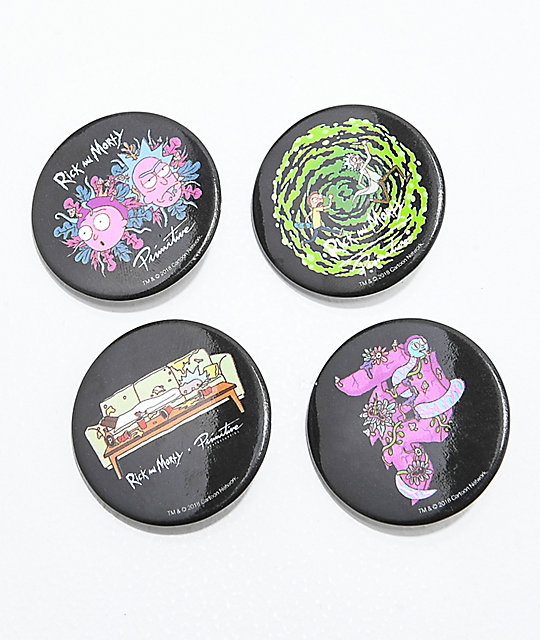 Primitive x Rick and Morty 4 Pack of Buttons