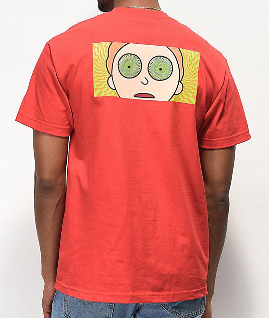 2863940343 Primitive x Rick and Morty Hypno Morty Red T-Shirt | Zumiez