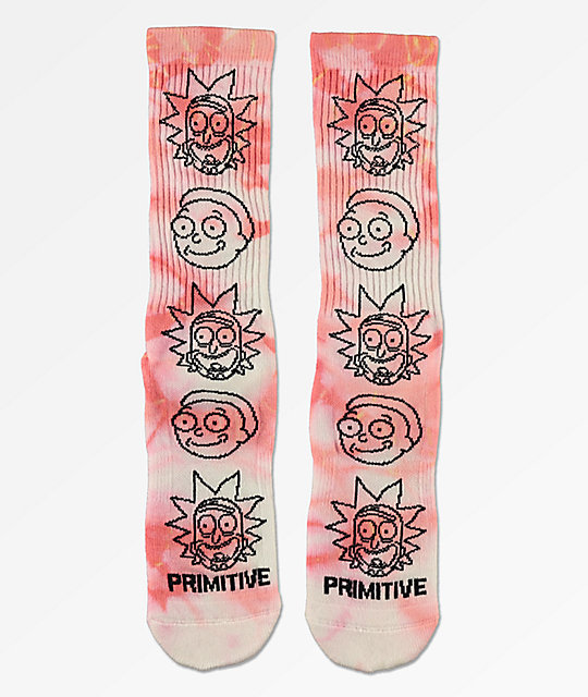 Primitive x Rick and Morty Washed Pink Crew Socks