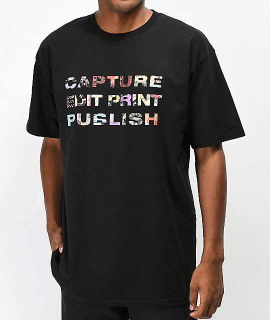 Publish Capture Edit Print camiseta negra