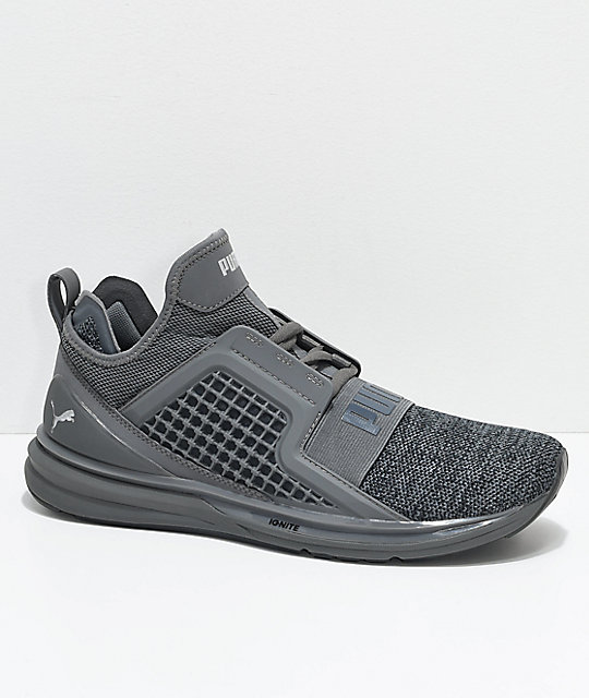 Puma Ignite Limitless Knit Grey Shade Shoes  5597b7d56