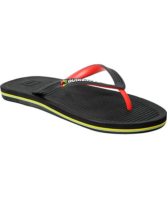 Quiksilver Haleiwa Black   Rasta Sandals  4a2ef91168