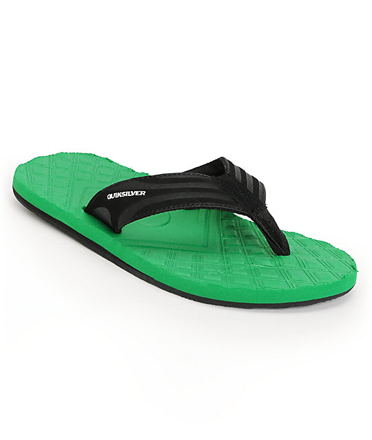Quiksilver Monkey Texture Green & Black Sandals
