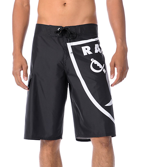 Quiksilver Raiders NFL Black 4-Way Stretch 22 Board Shorts
