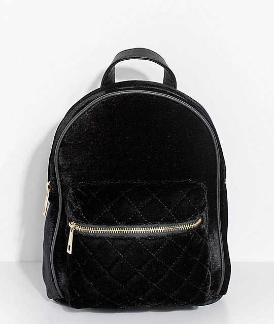 Quilted Black Velvet Mini Backpack