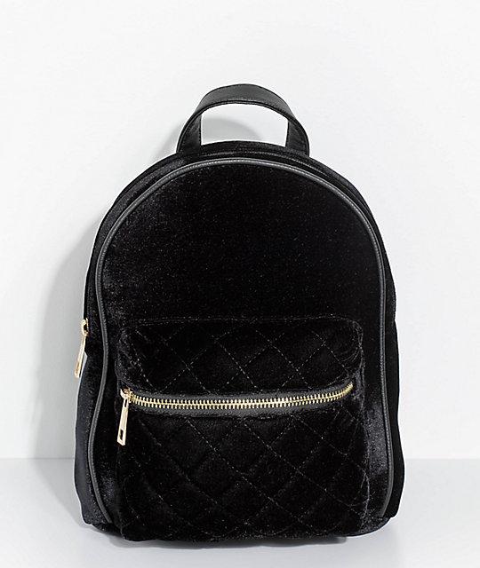 a9818100f Quilted Black Velvet Mini Backpack