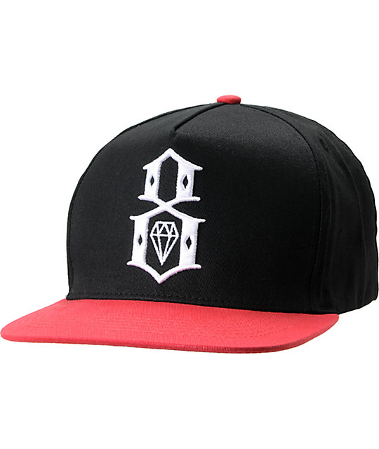 REBEL8 Classic Logo Black   Red Snapback Hat  5276bf1d43c