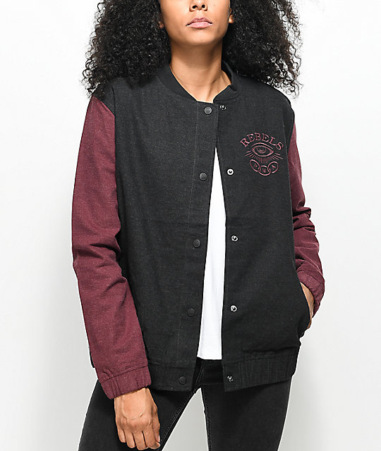 REBEL8 Foretold Charcoal & Burgundy Jacket