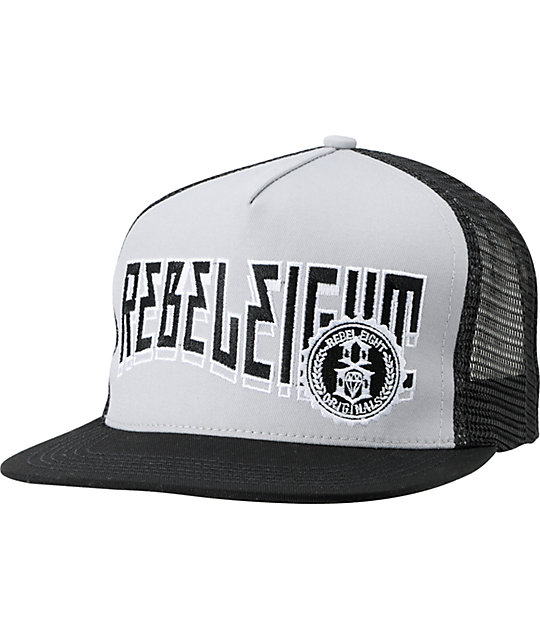 REBEL8 Highway Black & Grey Snapback Trucker Hat