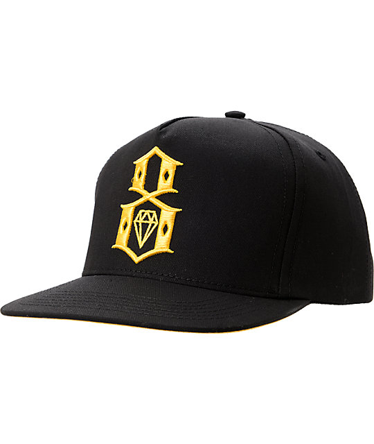 REBEL8 Logo Black & Yellow Snapback Hat