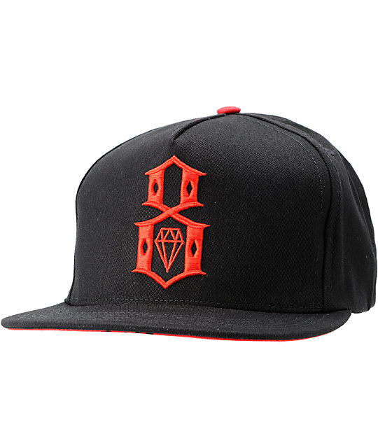 REBEL8 Logo Black & Red Snapback Hat ...