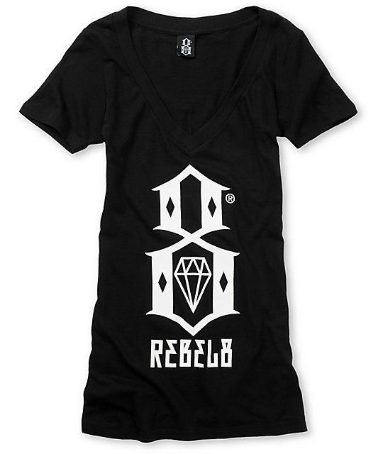 REBEL8 Logo Black V-Neck T-Shirt