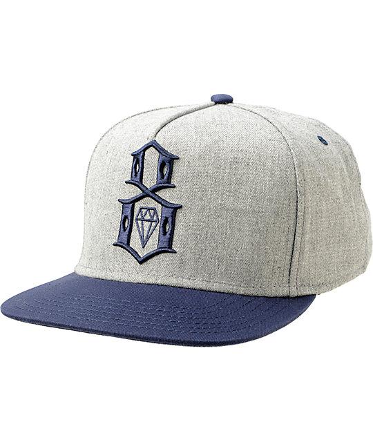 4aaf5ce824d REBEL8 Logo Grey   Navy Snapback Hat