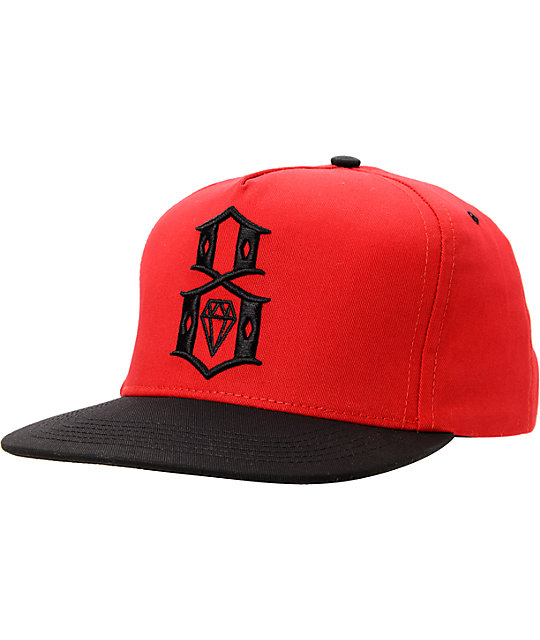 REBEL8 Logo Red   Black Snapback Hat  2bcbb3b5b77