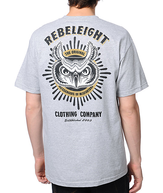 REBEL8 Owluminati Pocket Heather Grey T-Shirt