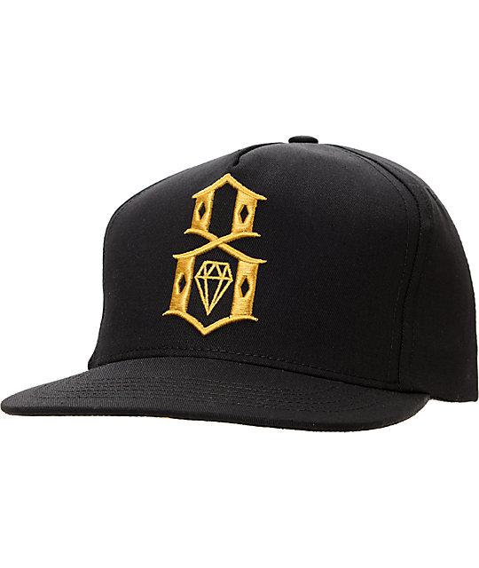 REBEL8 R8 Logo Black   Gold Snapback Hat  e84f4b063e3