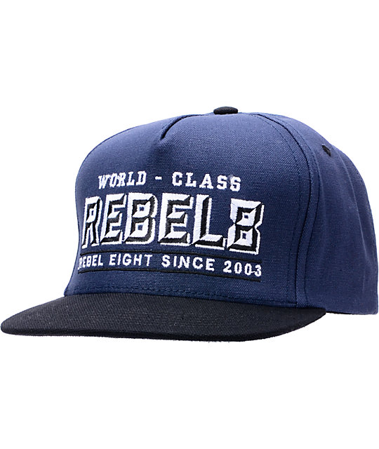 REBEL8 R8 Stout Navy & Black Snapback Hat