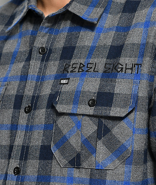 REBEL8 Scrapper Blue & Grey Flannel Shirt