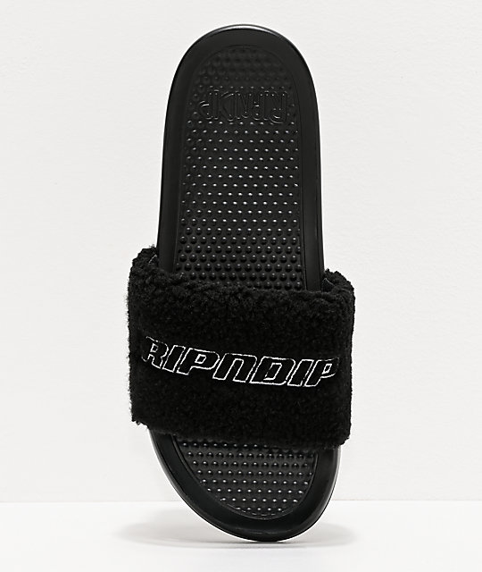 RIPNDIP Black Sherpa Slide Sandals
